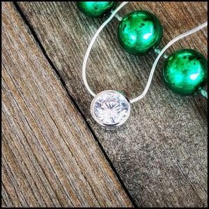 Jewelry - Round CZ Pendant with Chain. New
